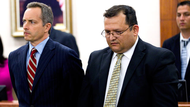 PHOTO: Raul Rodriguez, right, stands with his attorney Bill Stradley as he is found guilty of killing Kelly Danaher, June 13, 2012, in Houston.