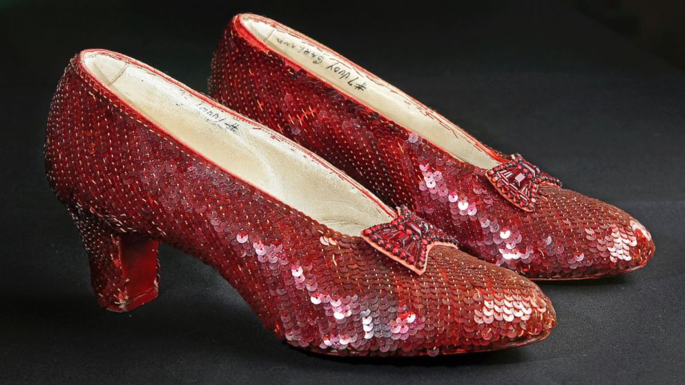 "The sequin-covered ruby slippers worn by Judy Garland in ""The Wizard of Oz"" are pictured at the offices of Profiles in History in Calabasas, Calif., Nov. 9, 2001."