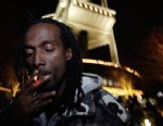 PHOTO: Allister Adams smokes marijuana, Dec. 6, 2012, just after midnight at the Space Needle in Seattle.