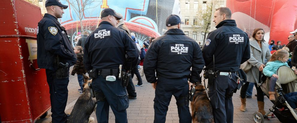 PHOTO: New York City Police Department K-9 units are deployed around The Museum of Natural History where Thanksgiving Day Parade balloons are inflated on the eve of the 89th Annual Macys Thanksgiving Day Parade in New York, NY, on Nov. 25, 2015.
