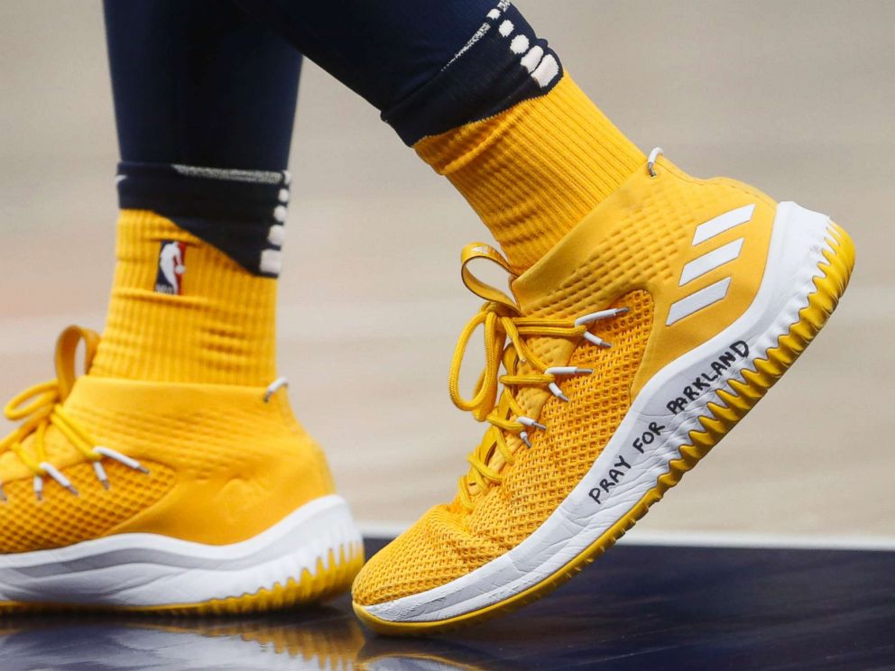 PHOTO: Utah Jazz guard Donovan Mitchell wears a shoe with Pray for Parkland written on it, during the second half of the teams NBA basketball game against the Phoenix Suns on Wednesday, Feb. 14, 2018, in Salt Lake City.