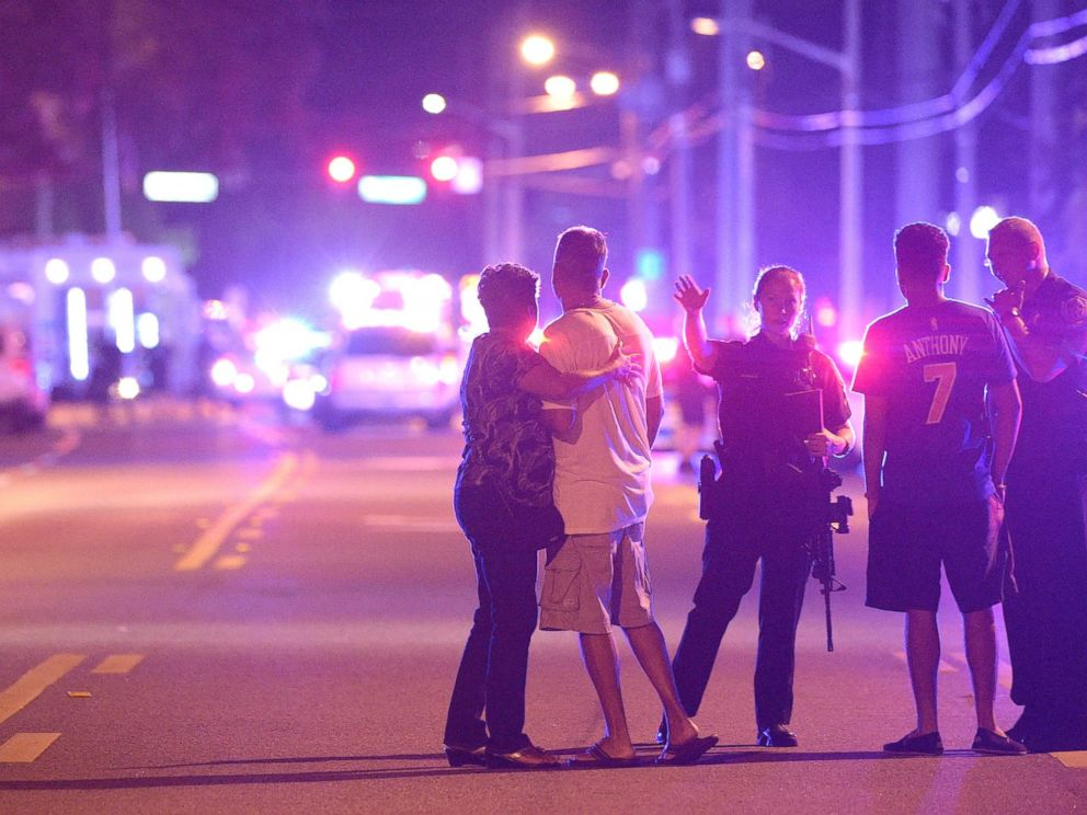 PHOTO: Orlando Police officers direct family members away from a multiple shooting at a nightclub in Orlando, Fla., Sunday, June 12, 2016.