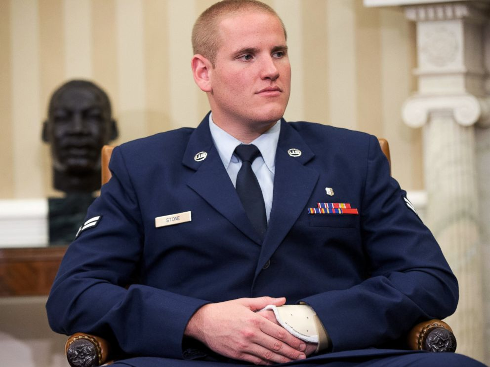 PHOTO: In this Sept. 17, 2015 file photo, Air Force Airman 1st Class Spencer Stone sits in the Oval Office of the White House during a meeting with President Barack Obama in Washington.