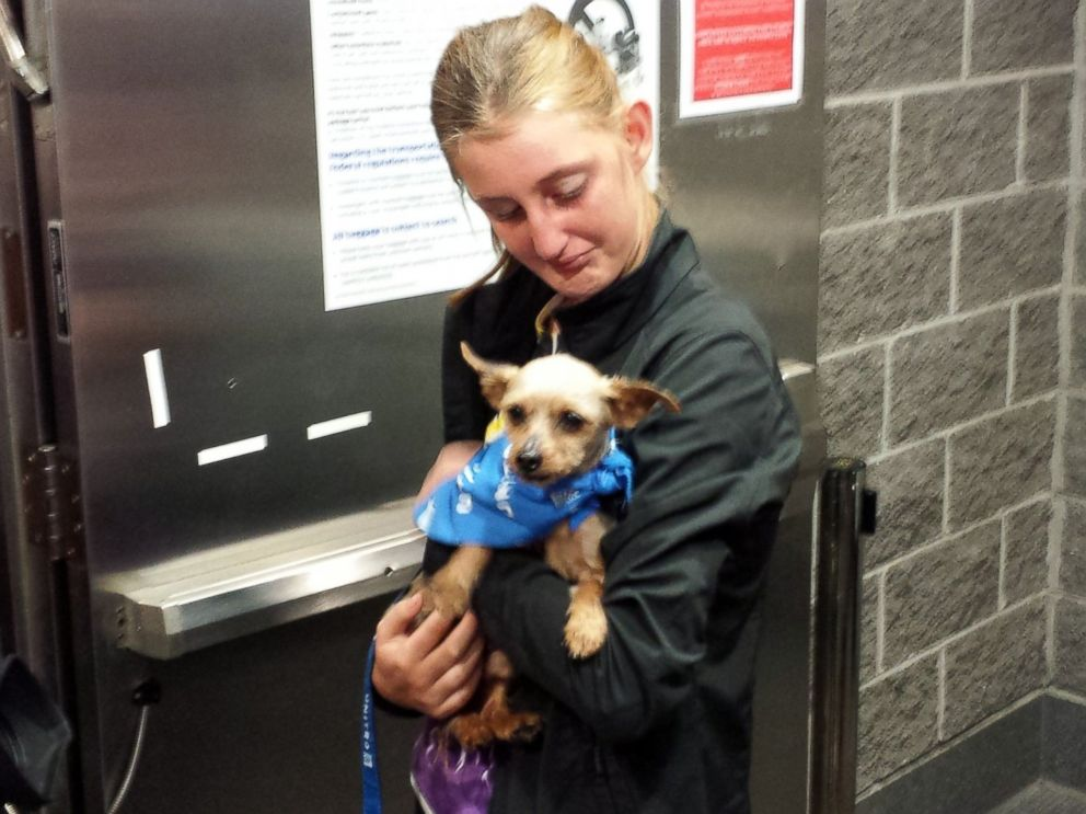 PHOTO: Karisa Lambert, 14, reacts as she is reunited with her stolen Yorkshire terrier Sam, at Louis Armstrong New Orleans International Airport in Kenner, La., April 29, 2015.