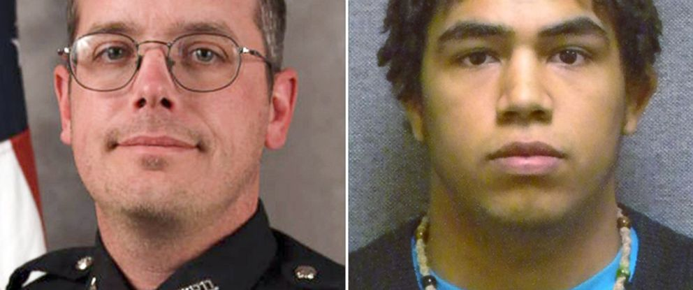 PHOTO: A combination image made with undated photos provided by the Madison police department and Wisconsin Department of Corrections shows police officer Matt Kenny and Tony Robinson, a biracial man who was killed by the officer.
