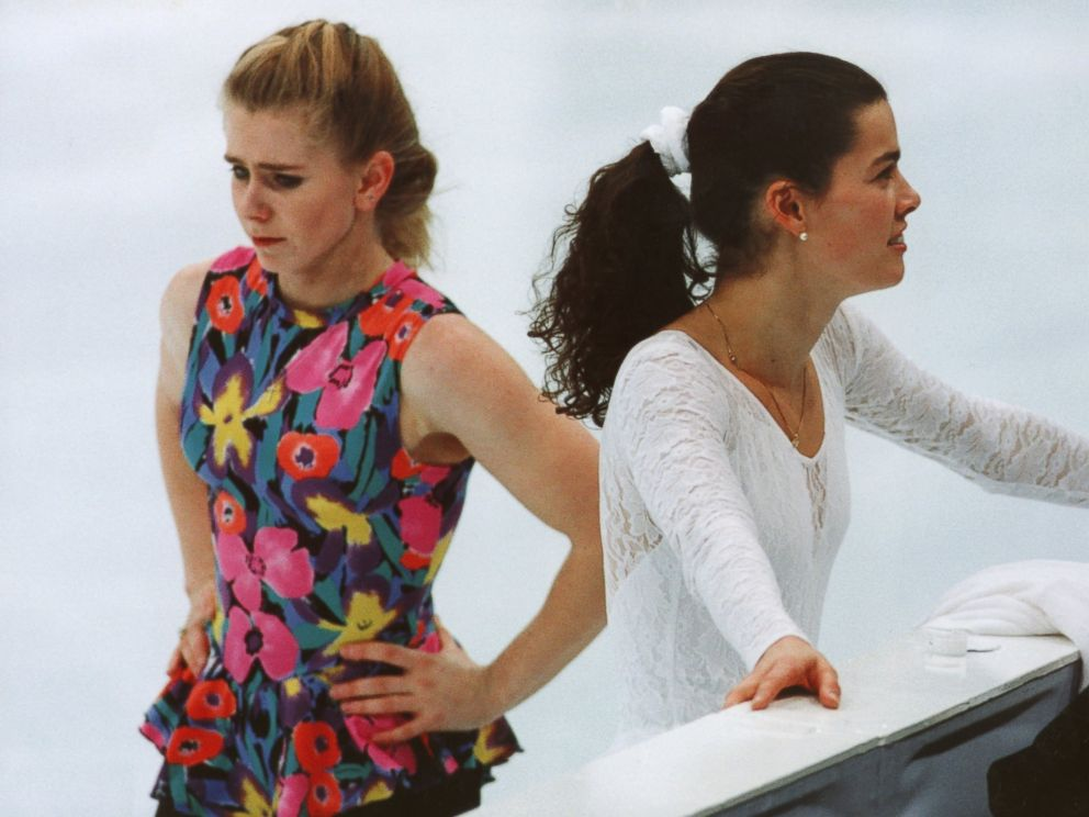PHOTO: Tonya Harding and Nancy Kerrigan take a break during the training for the 1994 Winter Olympics in Lillehammer, Norway on Feb. 17, 1994.