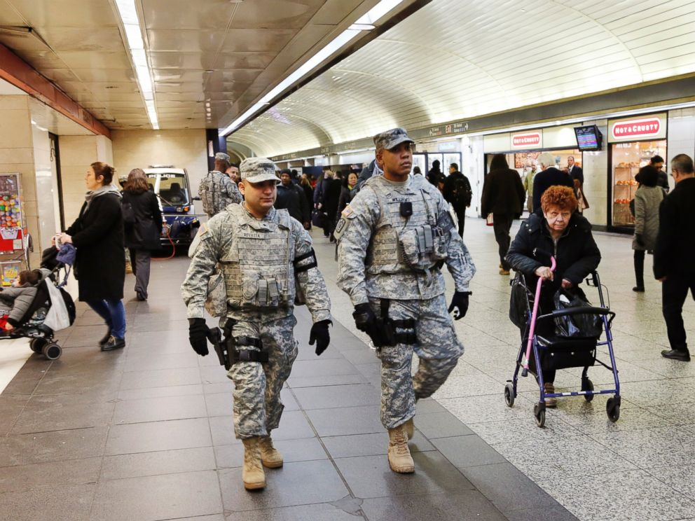 PHOTO: Members of the New York National Guard patrol Penn Station, March 22, 2016, in New York.