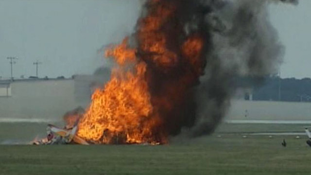 PHOTO: This photo provided provided WHIO TV shows a plane after it crashed Saturday, June 22, 2013, at the Vectren Air Show near Dayton, Ohio.