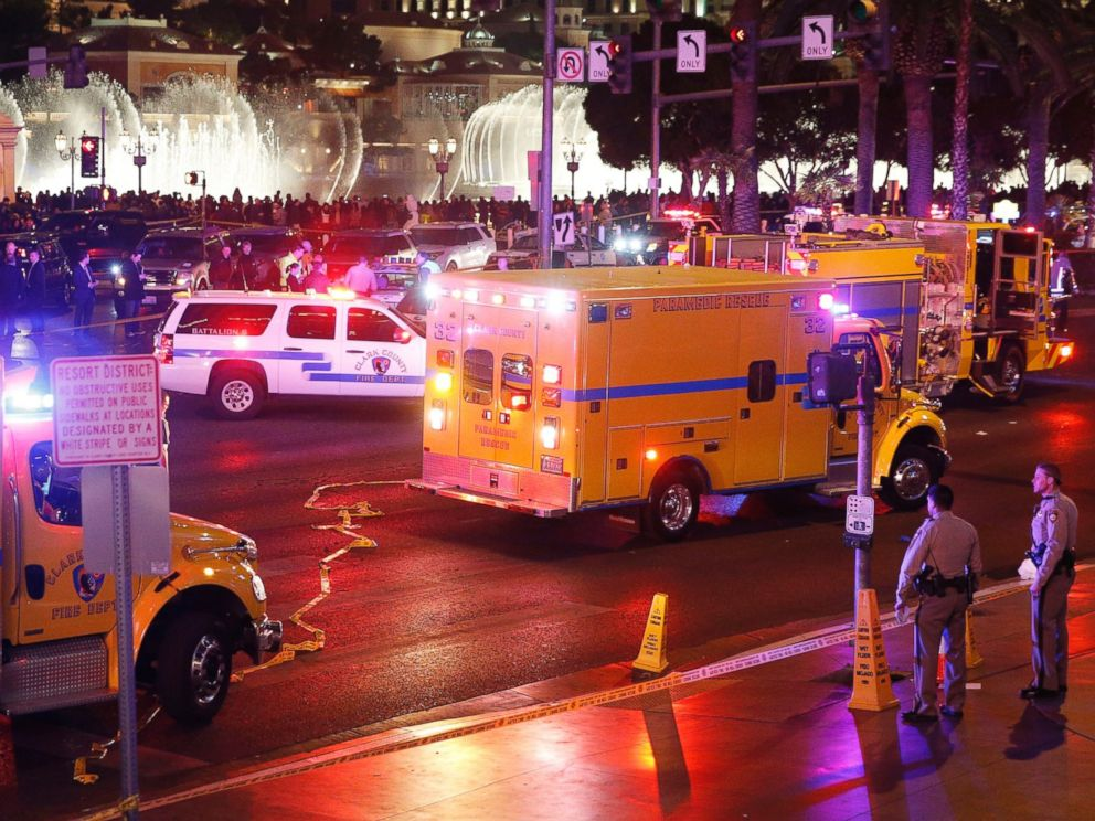 PHOTO: Police and emergency crews respond to the scene of an incident along Las Vegas Boulevard, Dec. 20, 2015, in Las Vegas.