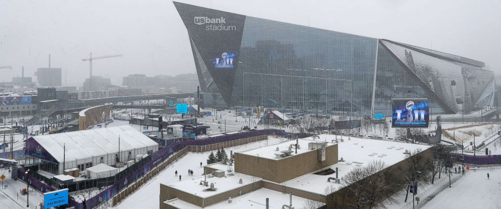 PHOTO: A general view of US Bank Stadium with Super Bowl signage is seen prior to the NFL Super Bowl LII football game on Saturday, Feb. 3, 2018 in Minneapolis.