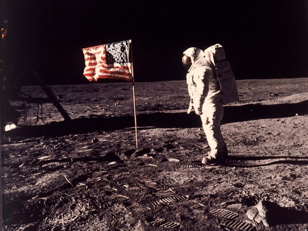 PHOTO: In this image provided by NASA, astronaut Buzz Aldrin poses for a photograph beside the U.S. flag deployed on the moon during the Apollo 11 mission on July 20, 1969.