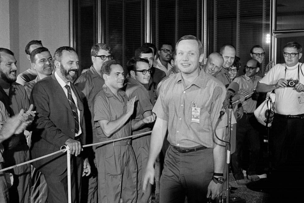 PHOTO: In this file photo, Neil Armstrong cracks a smile as he leaves the Lunar Receiving Laboratory on his way home for the first time in a month.