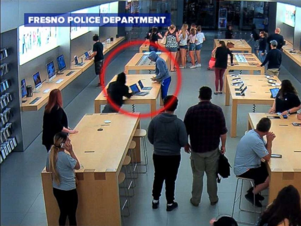 PHOTO: The two people seen in this inset allegedly ran into this Apple store stealing merchandise worth thousands of dollars.