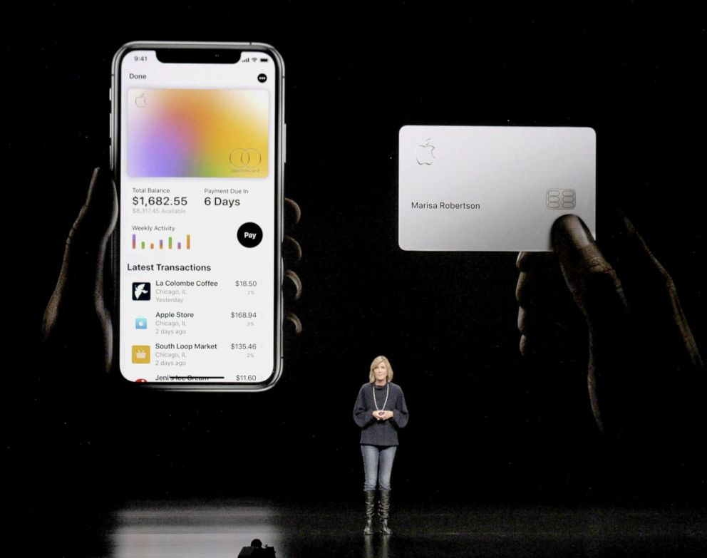 PHOTO: An Apple Inc. official explains Apple Card, a digital credit card available to iPhone users, at an event in Cupertino, Calif., March 25, 2019.