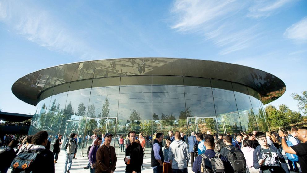 Attendees gather for a product launch event at Apple's Steve Jobs Theater, Sept. 12, 2018, in Cupertino, California.