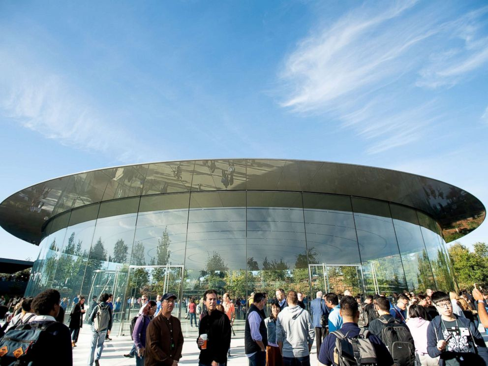 PHOTO: Attendees gather for a product launch event at Apples Steve Jobs Theater, Sept. 12, 2018, in Cupertino, California.