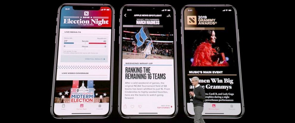 PHOTO: Apple Inc. CEO Tim Cook speaks during a company product launch event for their new video streaming service, and also unveil a premium subscription tier to its News app, March 25, 2019, in Cupertino, Calif.