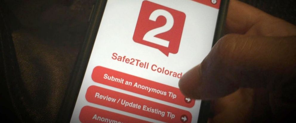 """PHOTO: The anonymous reporting app """"Safe 2 Tell"""" is currently used in Colorado schools."""