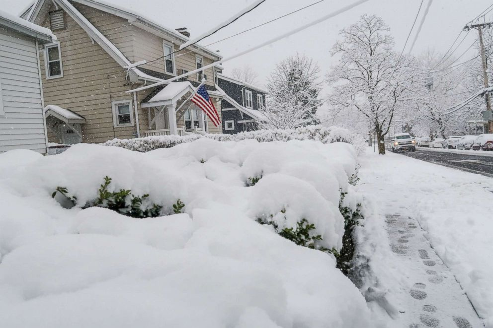 PHOTO: Villard Ave in Hastings on Hudson, NY, has gotten at least 6 inches of snow during snowstorm that has hit the northeast, April 2, 2018.