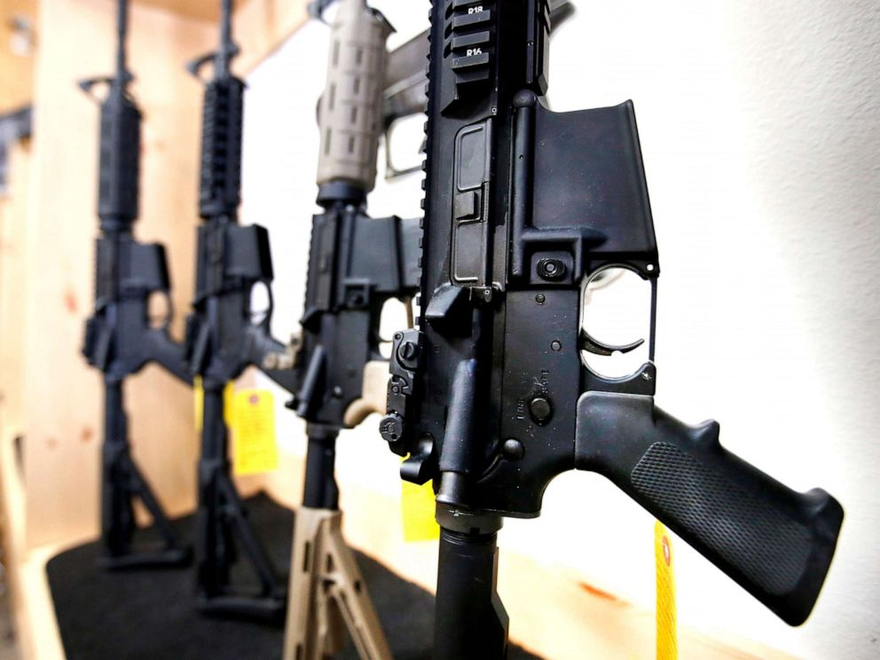 PHOTO: AR-15 semi-automatic guns are on display for sale, June 17, 2016, in Springville, Utah.
