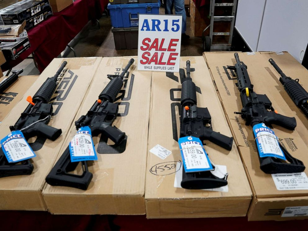 Joshua Roberts  Reuters FILEAR-15 rifles are displayed for sale at the Guntoberfest gun show in Oaks Pa. Oct. 6 2017