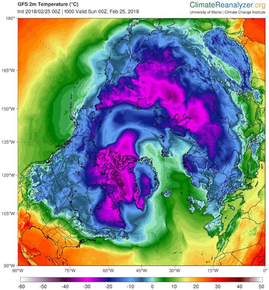 PHOTO: Graph shows North Pole temperature reaching into the 30s on Sunday, Feb 25.