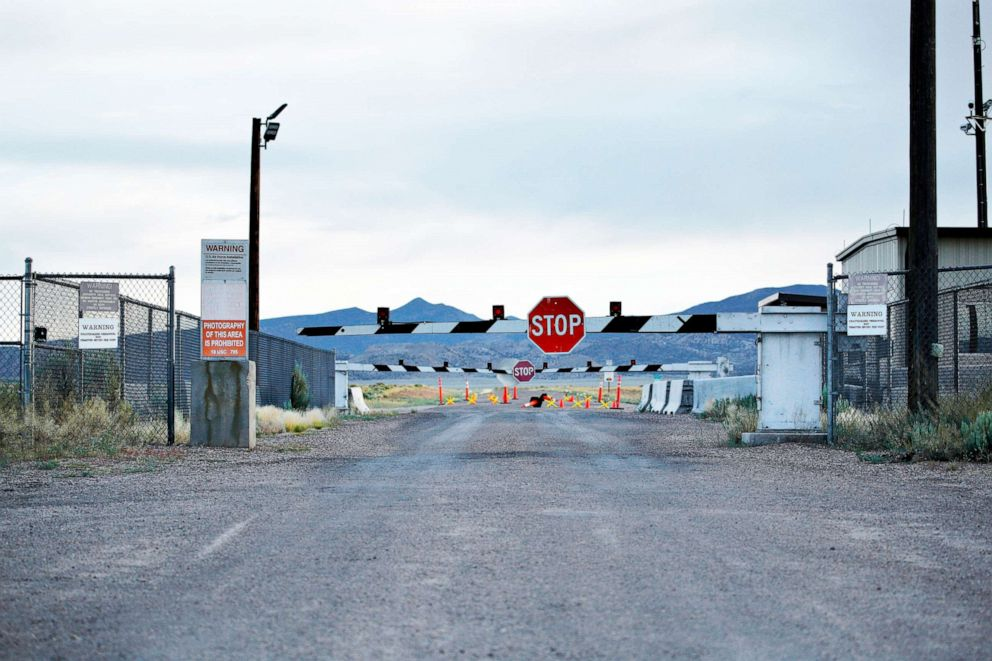 PHOTO: In this July 22, 2019 file photo, signs warn about trespassing at an entrance to the Nevada Test and Training Range near Area 51 outside of Rachel, Nev.