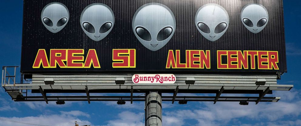 PHOTO: A sign reads Area 51 Alien Center in front of the eponymous building, where more than 1.5 million people have decided to gather to storm the Area 51, in Amargosa Valley, Nevada, July 19, 2019.