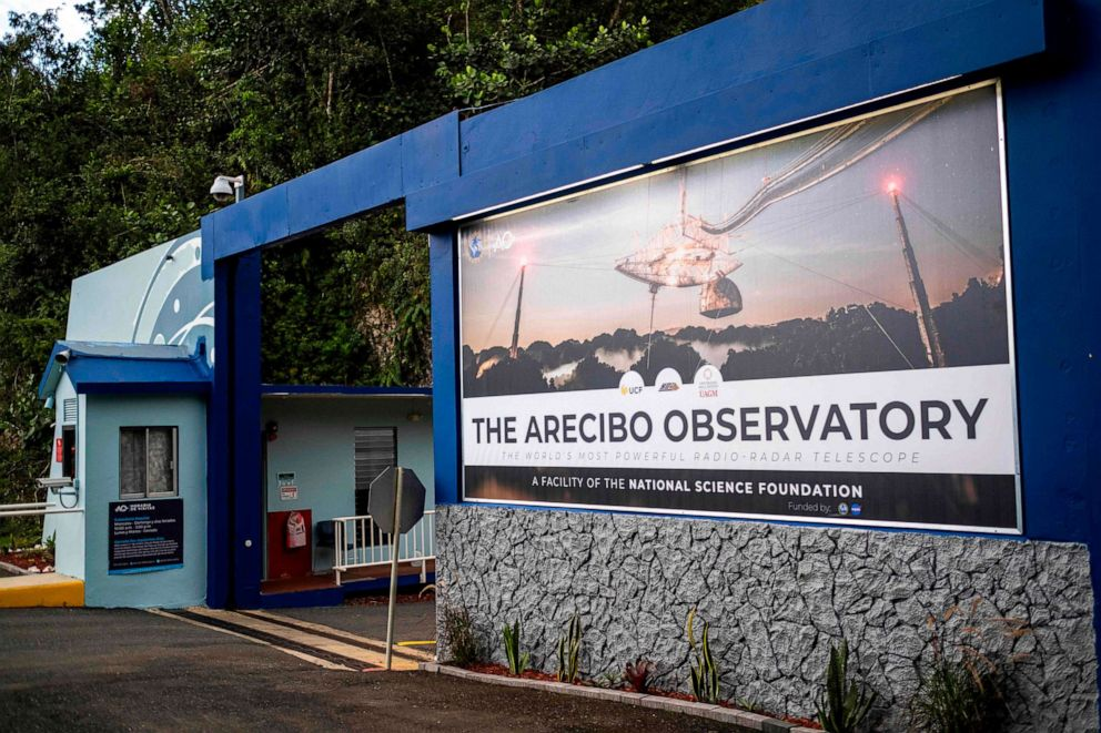 PHOTO: The main entrance of the Arecibo Observatory is seen in Arecibo, Puerto Rico on Nov. 19, 2020.