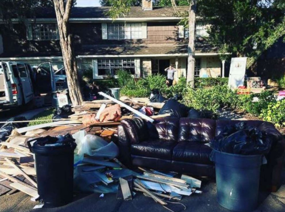 PHOTO: Hurricane Harvey left the Harding familys home destroyed in Friendswood, Texas.