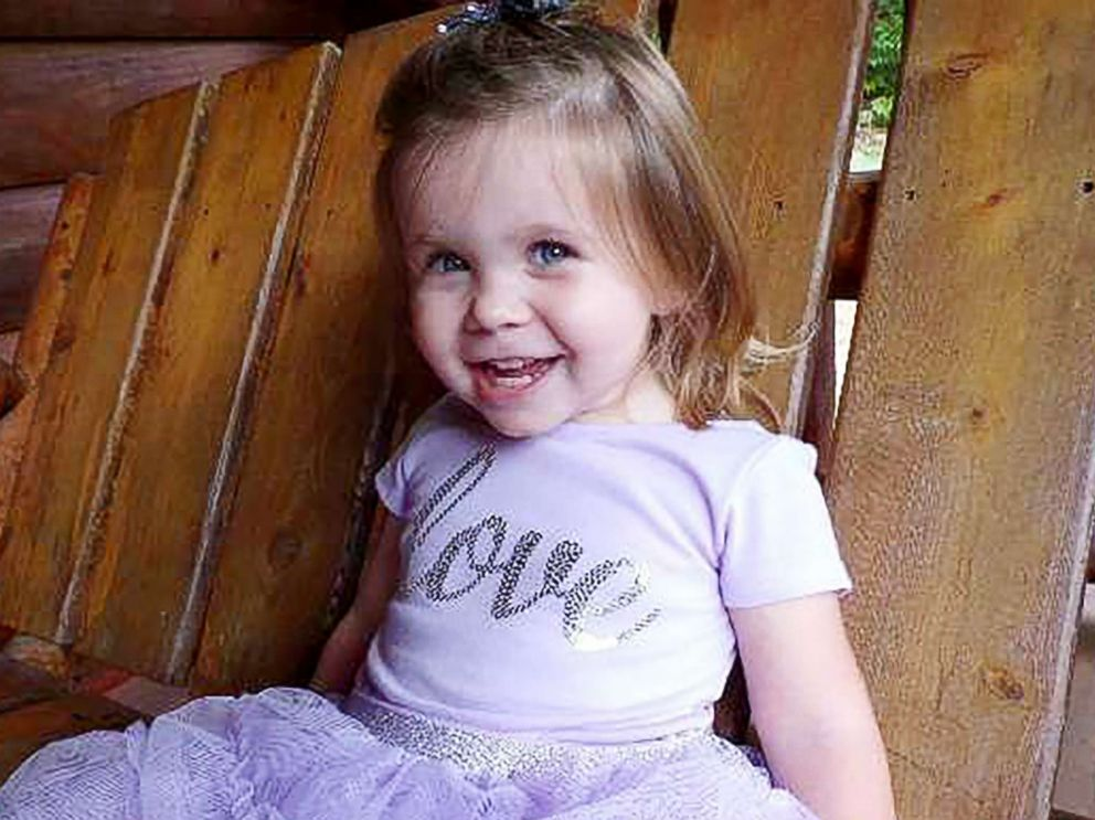 PHOTO: Ariel Salaices, 2, was hit in the head by a stray bullet as she prepared to go down a slide in her backyard in Mountain City, Tenn., March 15, 2019.