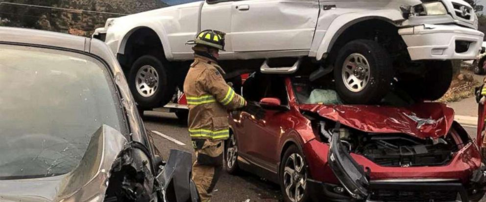 PHOTO: Firefighters responded to reports of a three-vehicle crash in Prescott, Ariz., Oct. 7, 2018.
