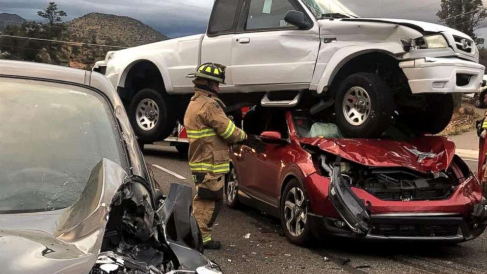 4 people walk away unscathed after three-vehicle crash in