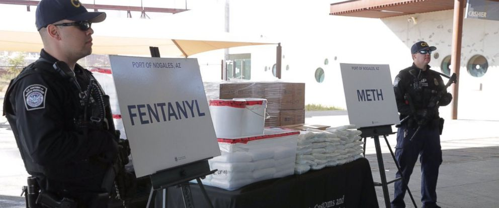 PHOTO: Packets of fentanyl and methamphetamine, which U.S. Customs and Border Protection say they seized from a truck crossing into Arizona from Mexico, is on display during a news conference at the Port of Nogales, Ariz., Jan. 31, 2019.