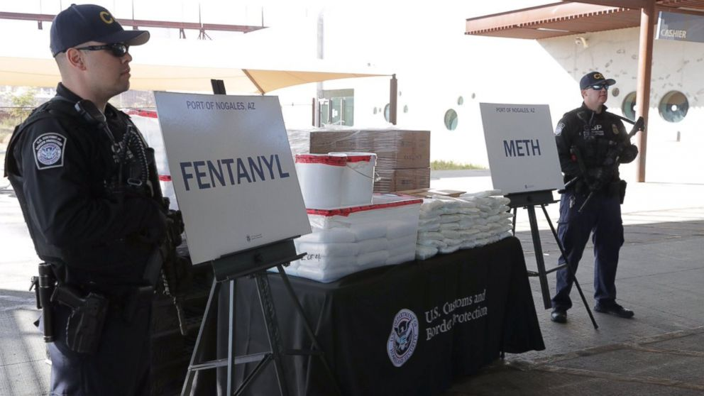 Packets of fentanyl and methamphetamine, which U.S. Customs and Border Protection say they seized from a truck crossing into Arizona from Mexico, is on display during a news conference at the Port of Nogales, Ariz., Jan. 31, 2019.