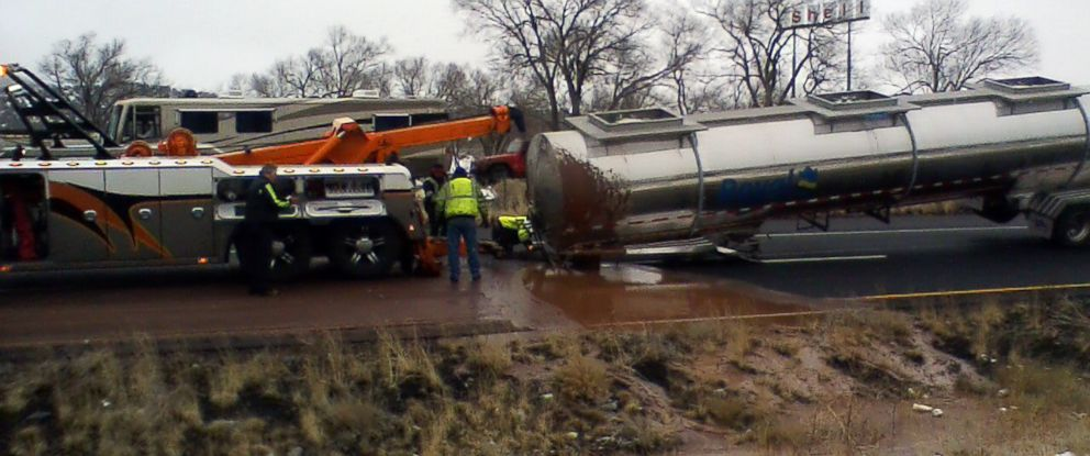 PHOTO: Interstate 40 near Flagstaff, Ariz., was covered in a river of chocolate after a tanker trailer overturned in the morning of Jan. 14, 2019.