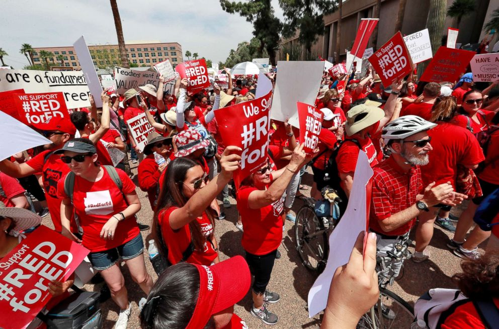 PHOTO: Teachers rally outside of Arizona Gov. Doug Duceys Executive Tower Monday, April 30, 2018, in Phoenix on their third day of walk outs.