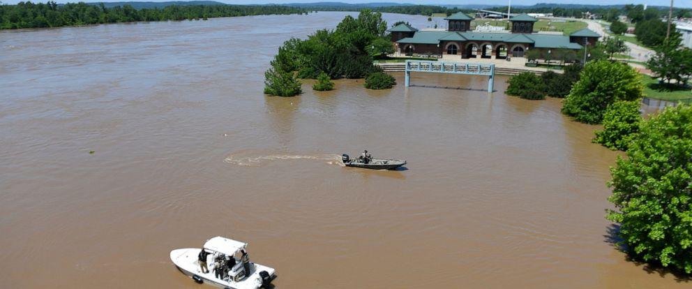 PHOTO: The Arkansas River floods Harry E. Kelley River Park Thursday, May 30, 2019, in Fort Smith, Ark.
