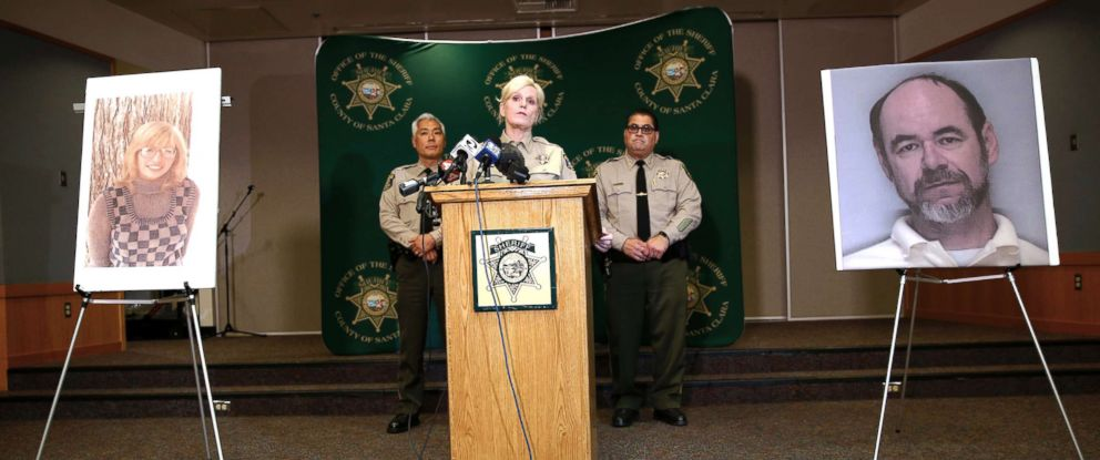 PHOTO: Santa Clara County Sheriff Laurie Smith speaks to the media about the 1974 killing of Arlis Perry at the Sheriffs office in San Jose, Calif., June 28, 2018. At left is Arlis Perry at right is Stephen Blake Crawford.