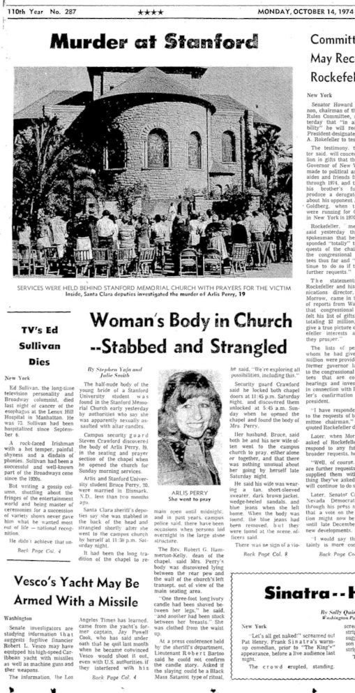 PHOTO: The October 14, 1974, front page coverage of Arlis Perry murder in the Stanford Memorial Church.