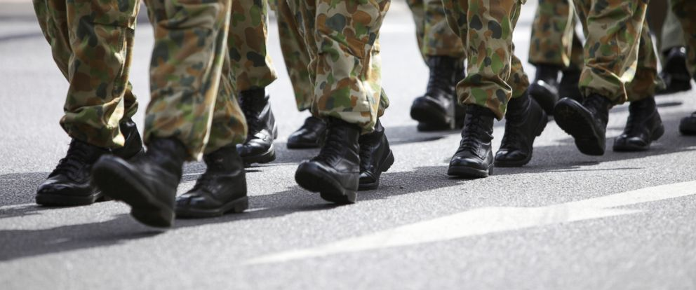 PHOTO: Soldiers in boots are pictured marching in uniform in this undated stock photo.