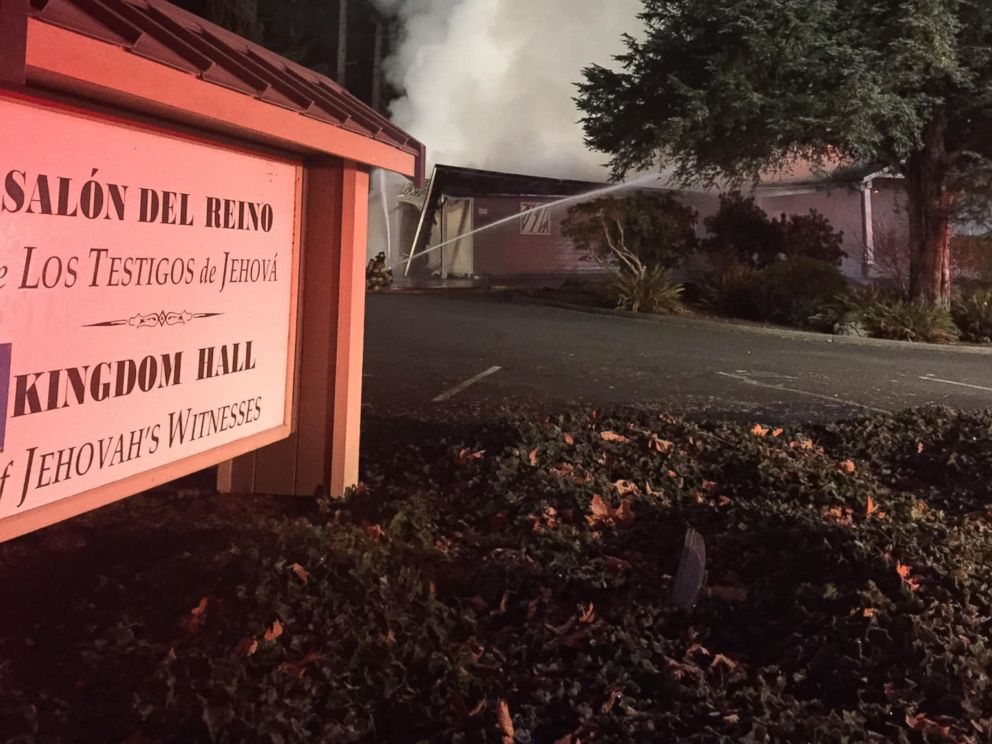 PHOTO: An arson completely destroyed the Kingdom Hall of Jehovahs Witnesses in Lacey, Washington, Dec. 7, 2018.