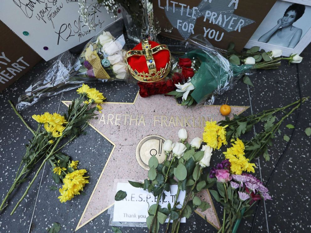 PHOTO: Flowers and mementos are left at Aretha Franklins star on the Hollywood Walk of Fame, Aug. 16, 2018 in Hollywood, Calif. The legendary soul singer passed away today in Detroit from pancreatic cancer at age 76.