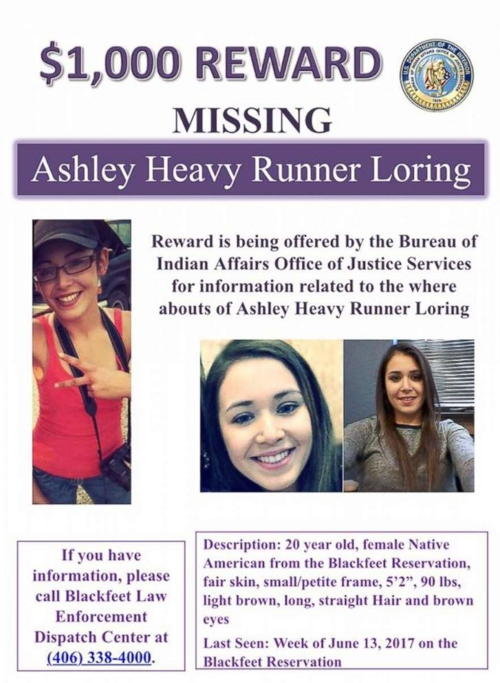 PHOTO: Ashley Loring Heavy Runners missing person poster.