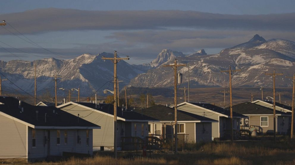 Housing on the Blackfeet Reservation in northwestern Montana.