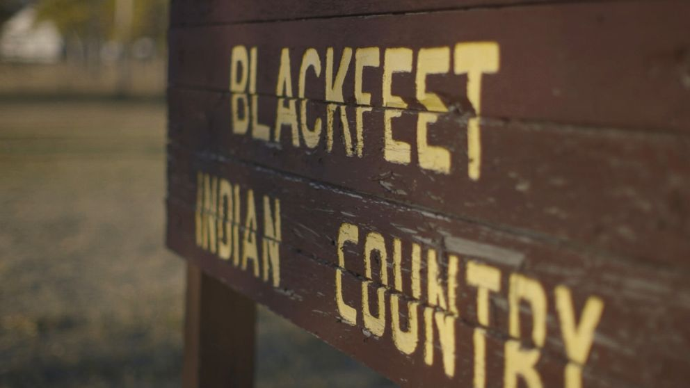 "A sign proclaims ""Welcome to Blackfeet Indian Country"" on the Blackfeet Reservation in northwestern Montana."