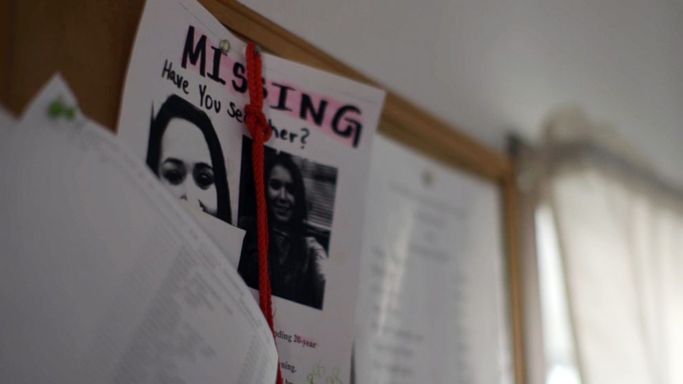 PHOTO: A homemade missing poster hangs inside the Loring home.
