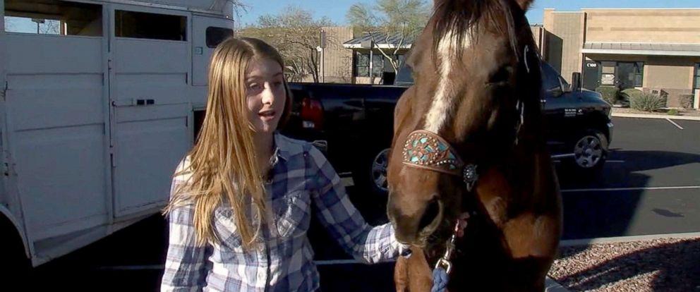 PHOTO: Aspen Cline was denied service after riding her horse through a Starbucks drive-thru, March 3, 2018, in Anthem, Arizona.