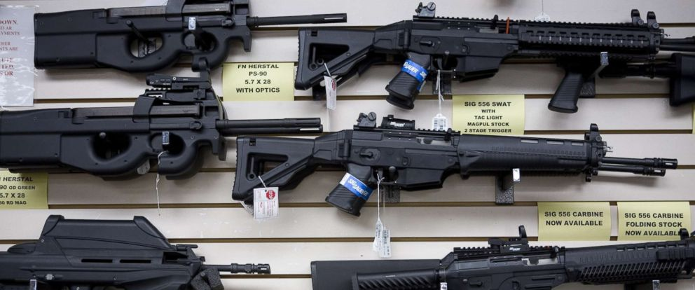 PHOTO: Semi-automatic weapons for sale on display in San Antonio, Texas, June 17, 2009.