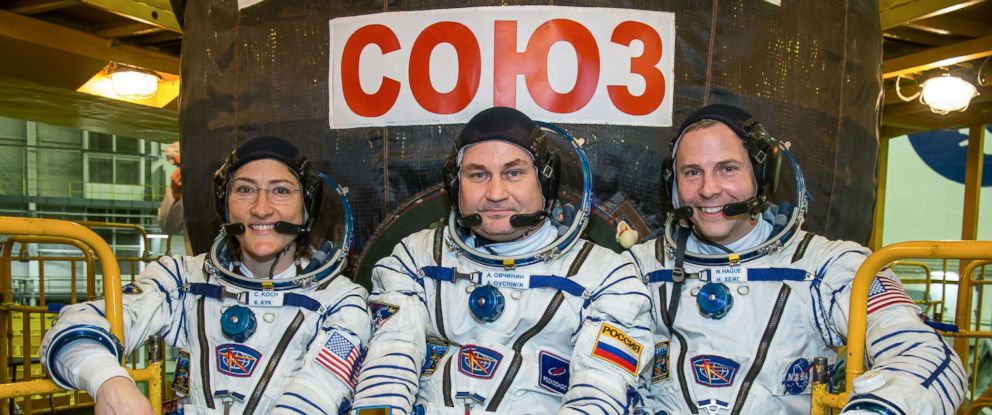 PHOTO: Expedition 59 crew members Christina Koch of NASA, Alexey Ovchinin of Roscosmos and Nick Hague of NASA during pre-launch training for launch March 14, U.S. time.
